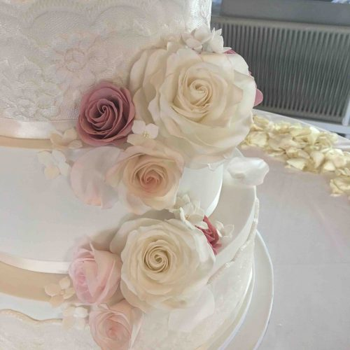 Sugar Flowers Algarve Wedding Cake